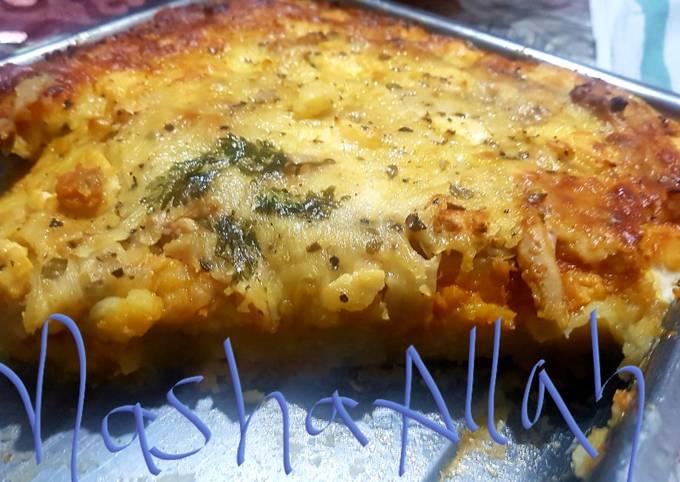 Curried cauliflower,cheese and potato bake