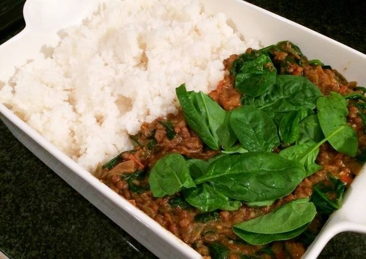 Easiest Way to Prepare Perfect Coconut, lentil and spinach curry (Vegan)