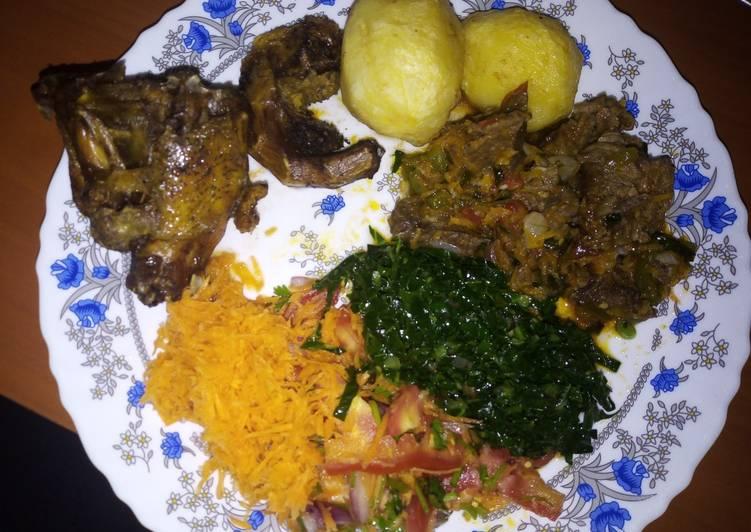 Recipe of Favorite Fried potatoes, kuku and beef stew #weeklyjikonichallenge