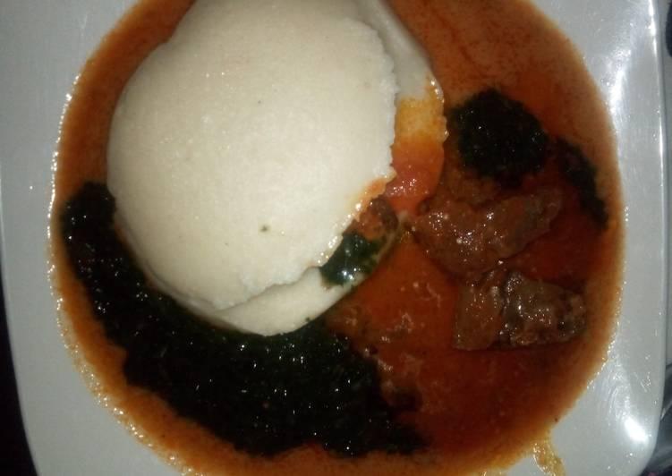 Semo+gbegiri(beans soup)+ewedu+stew😋