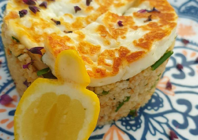 Squeaky cheese and herbed couscous