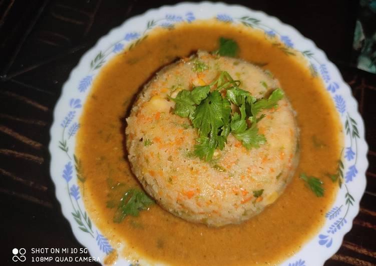 Plate Vegetables Idli and Rasam Chutney 😋