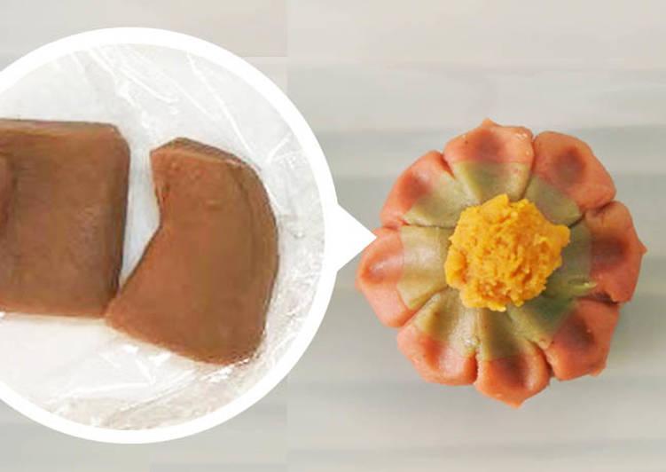 Fleur gâteaux comme Nerikiri-Wagashi en Marron purée et farine blanche