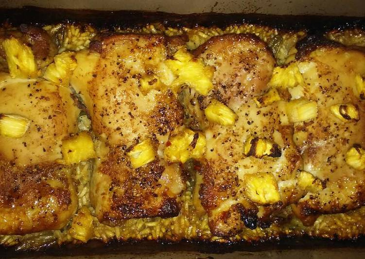 How to Cook Appetizing Pineapple chicken & bbq rice
