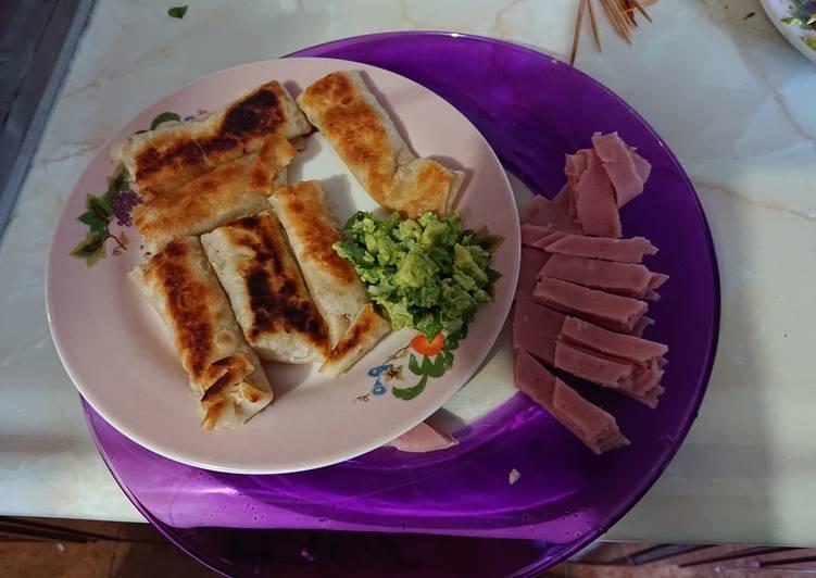 Rollitos de queso philadelphia con jamón
