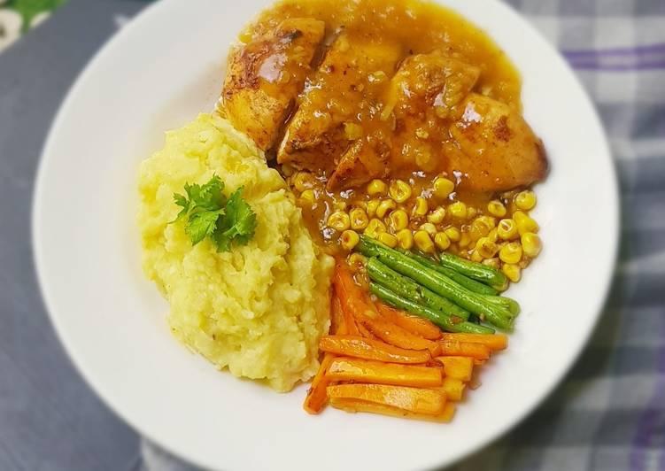 Steak ayam dan mashed potato