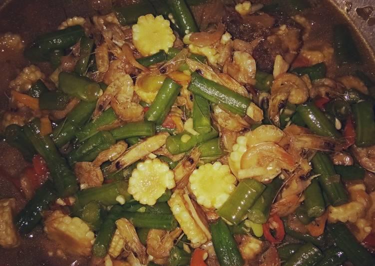 Oseng udang,jagung muda, kacang panjang