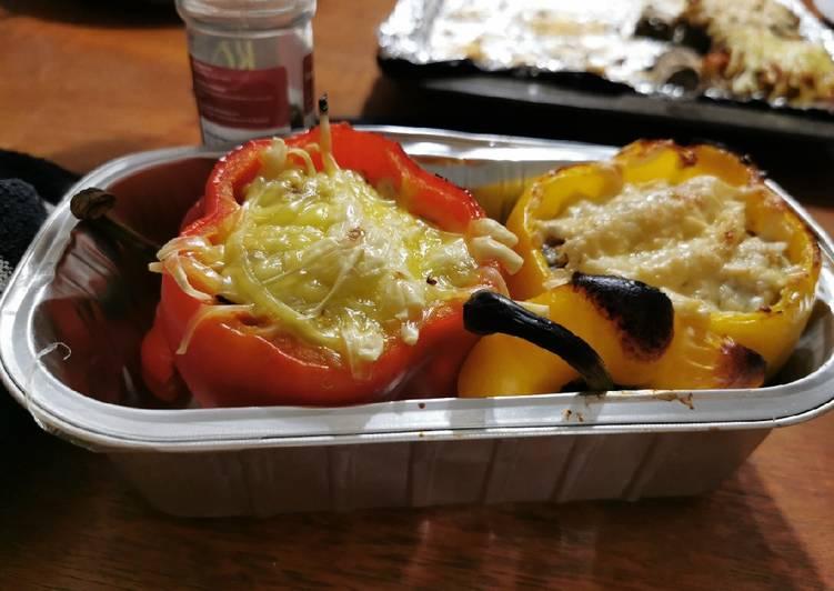 Vegan stuffed peppers and mushrooms