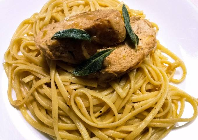Brown butter and sage linguine with chicken