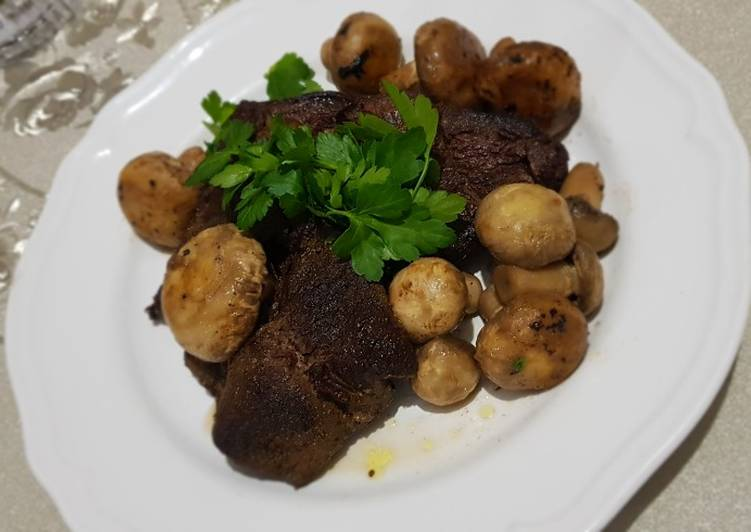 Meat steaks with mushroom