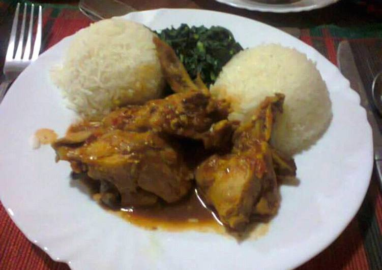 My Grandma White Rice served with Curry chicken and vegetables
