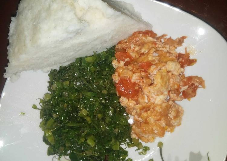 Fried Eggs Kales and Ugali(Dinner)