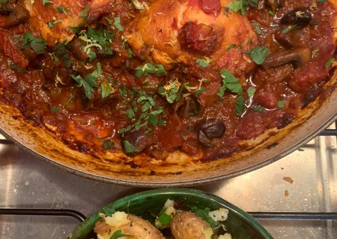 Fall off the bone chicken chasseur with lemon and parsley crushed potatoes