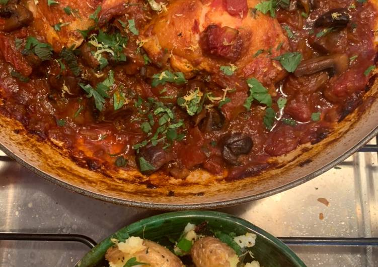 Step-by-Step Guide to Make Homemade Fall off the bone chicken chasseur with lemon and parsley crushed potatoes