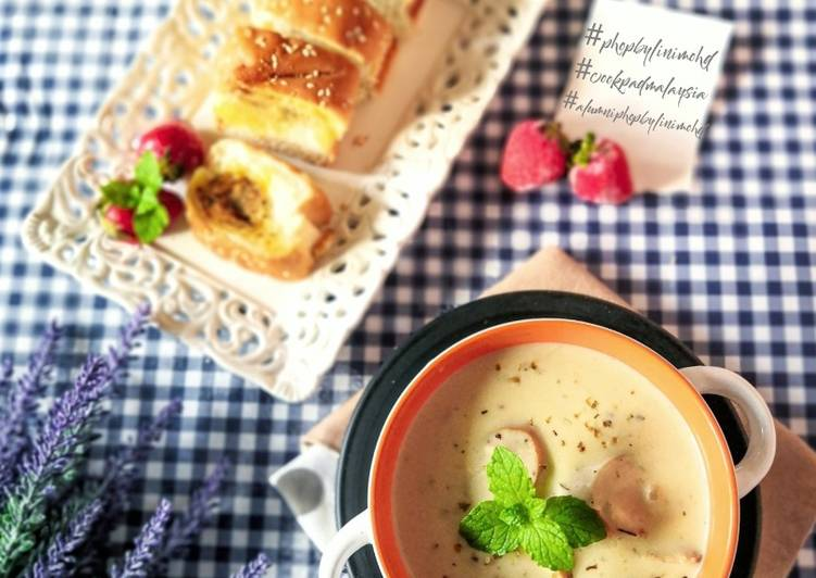 MUSHROOM SOUP with GARLIC BREAD #phopbylinimohd - resepipouler.com