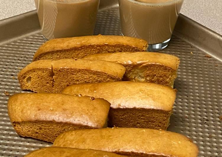 Easiest Way to Make Any-night-of-the-week Cake Rusk  Biscottis made out of strips of cake that are Baked