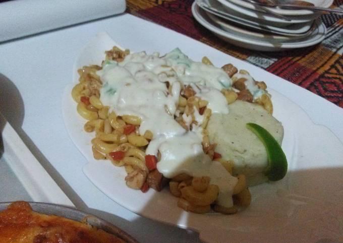 White sauce pasta with mash ptatos#cookpad pakistan