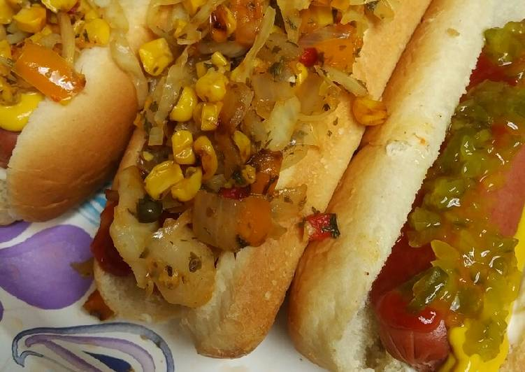 Hotdogs and Corn Pepper and Cabbage Relish