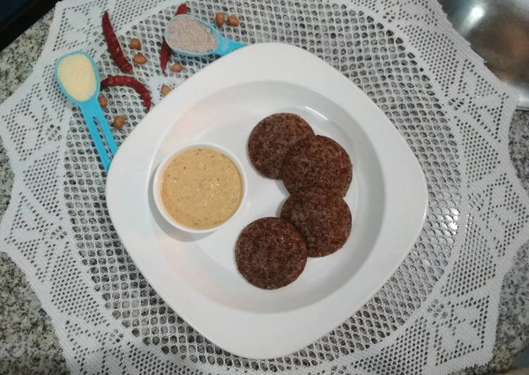Ragi Idli with peanut chutney in Microwave