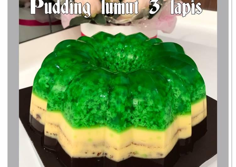 Puding lumut 3 lapis (pandan, butter, chocolate)