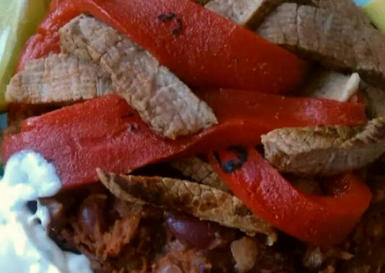 Recipe of Super Quick Homemade Vickys Mexican-Style Steak with Refried Beans, GF DF EF SF NF