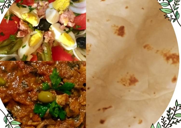 Pain pita maison avec salade et chawarma de poulet