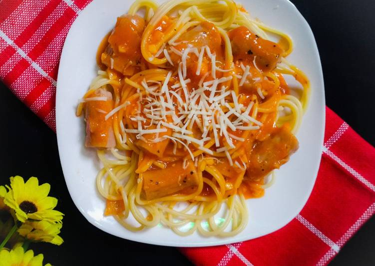 Resep Spaghetti Sosis Oleh Alinett Cooknfood Cookpad