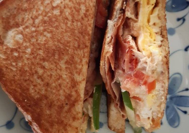Homemade chicken shredded with ham and egg sandwich