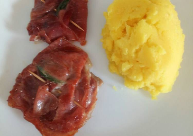 Saltimbocca with saffron mash