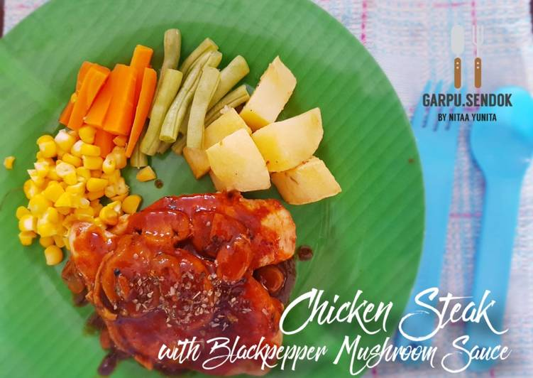 76. Chicken Steak with Blackpepper Mushroom Sauce