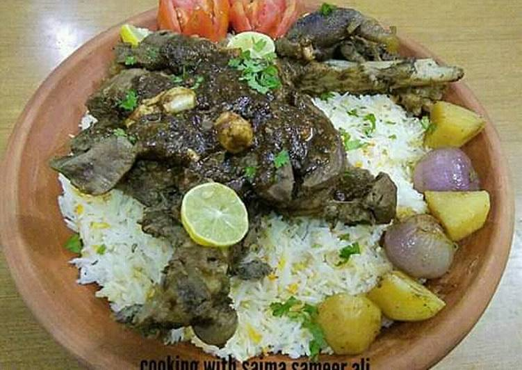 How to Prepare Top-Rated Mutton leg roast with yakhni rice #cookpadapp