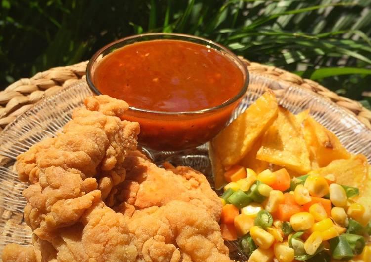 Ayam krispi saus barbeque