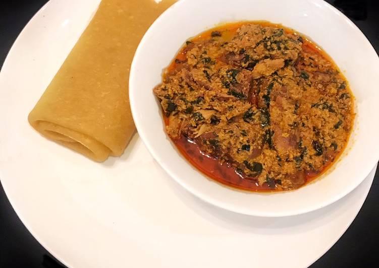 Rolled Eba and egusi soup