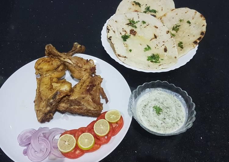 Recipe of Homemade Chicken tikka with homemade tawa naan