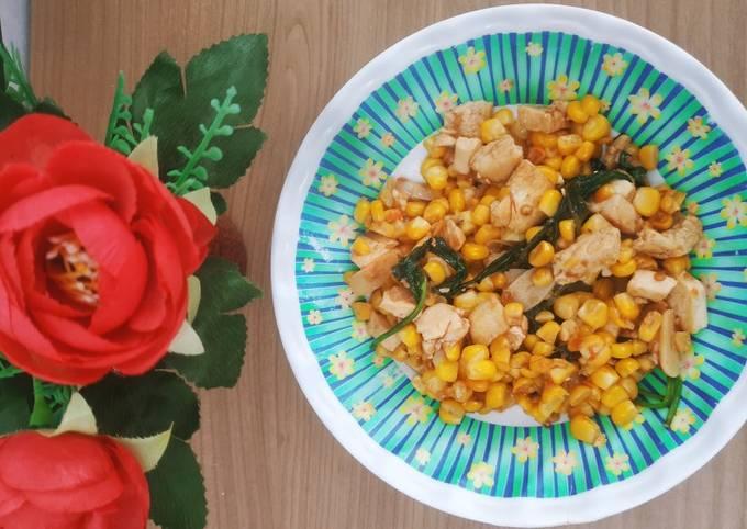 Tumis jagung kangkung tahu pedas
