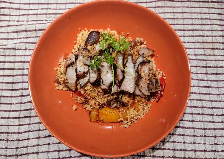 Couscous with Roasted Vegetables and Grilled Pork Belly