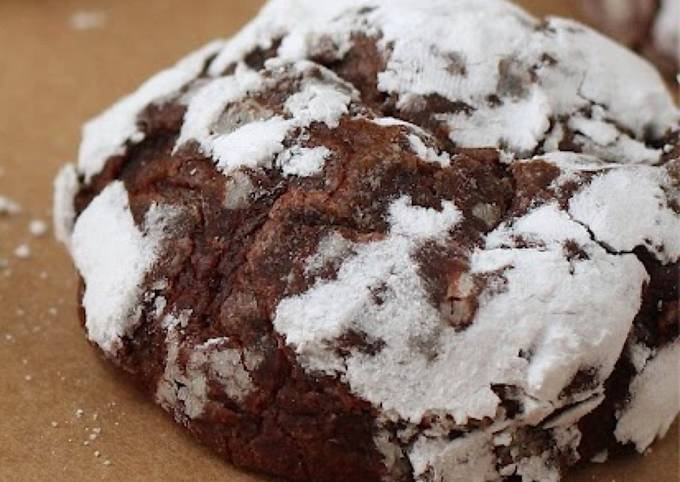Chocolate crinkle cookie with buttercream frosting
