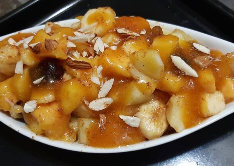 Recipe of Perfect Fruit chaat with khobani sauce😋