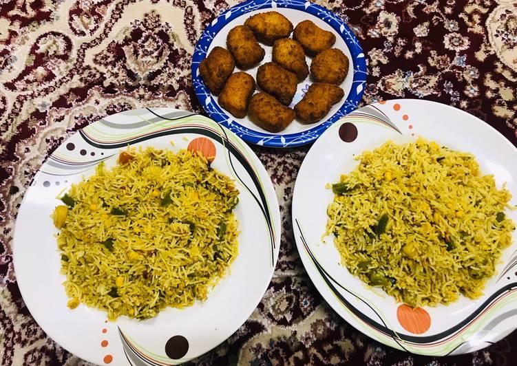 Chicken nuggets & veg fried rice