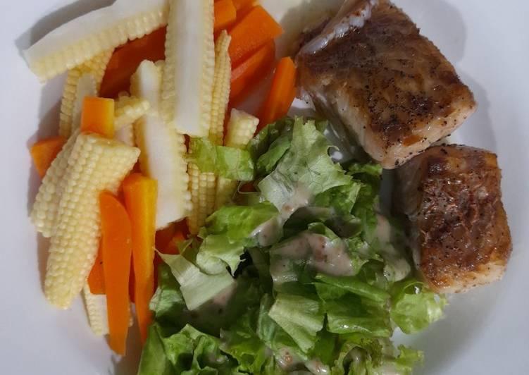 Steak ikan kakap saus lemon madu