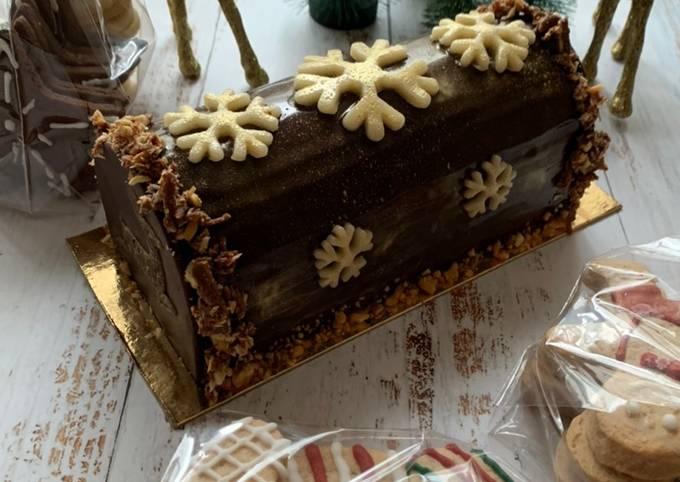 Bûche chocolat praliné noisettes