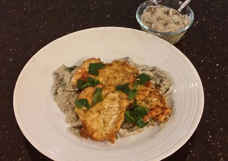 Old Fashioned Dinner Easy Quick Chicken Schnitzel with a Creamy Mushroom Sauce