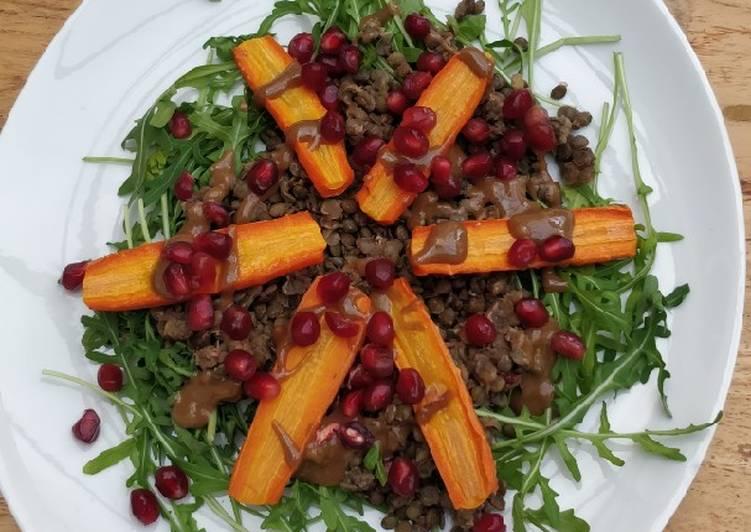 Salade de lentilles et carottes avec sauce tahin