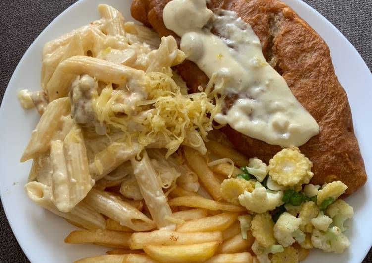 Fish and chips with penne pasta alfredo
