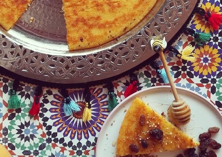 Galette Marocaine à la polenta et noix de coco🔅HARCHA🔅🍯🇲🇦☕