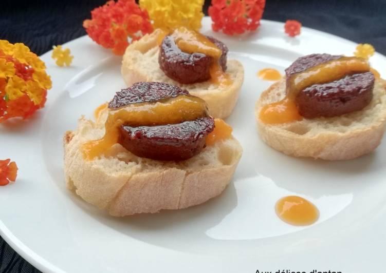 Toast boudin antillais compotée d'abricot