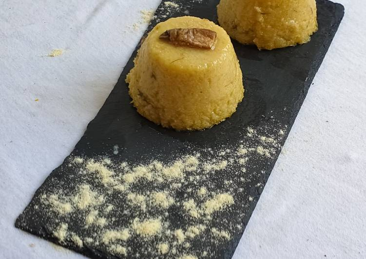 Polenta flan with porcini, truffle and cheese