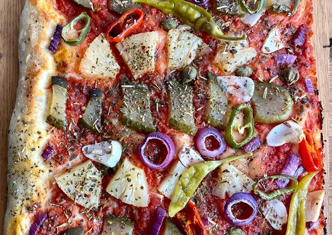 Recipe: Appetizing Vegan Gherkin and Pineapple pizza 🥒 🌱