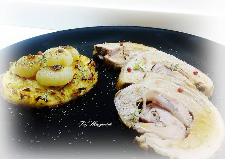 Arrosto di vitello con rosti di patate e cipolle borettane arrosto in tegame