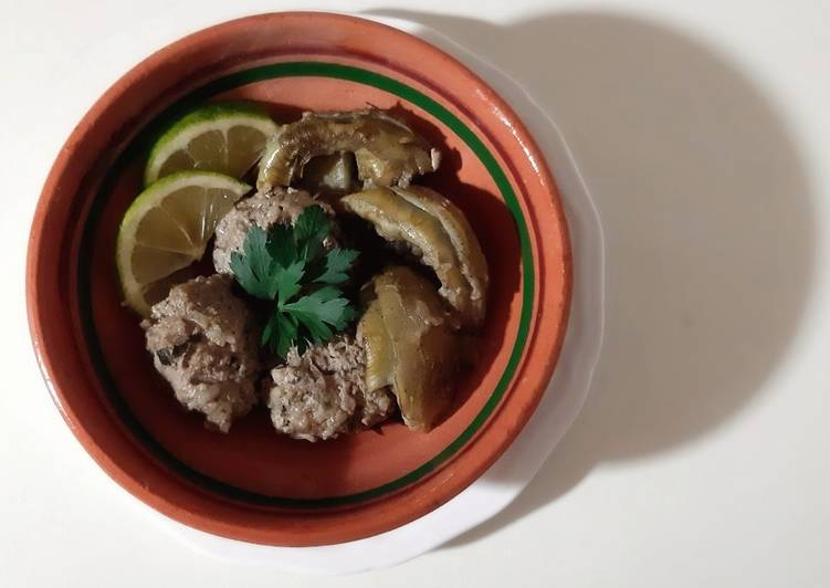 Recette Savoureux Coeurs d'artichaut aux boulettes de viande hachée d'agneau ❤